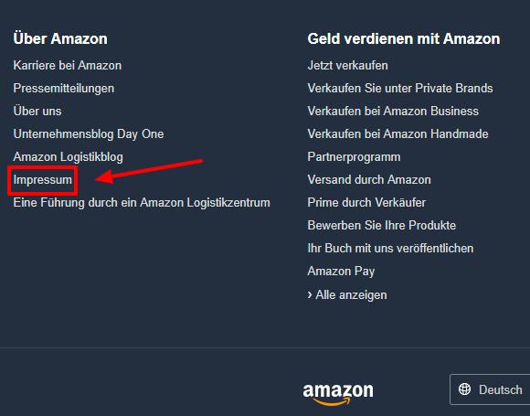 Amazon Kontaktformular finden