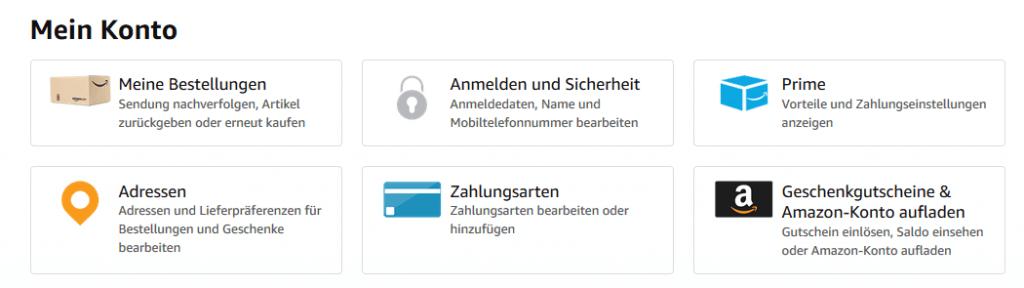 Amazon Konto Zahlungsarten bearbeiten.