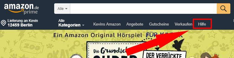 """Amazon """"Hilfe"""" aufrufen"""