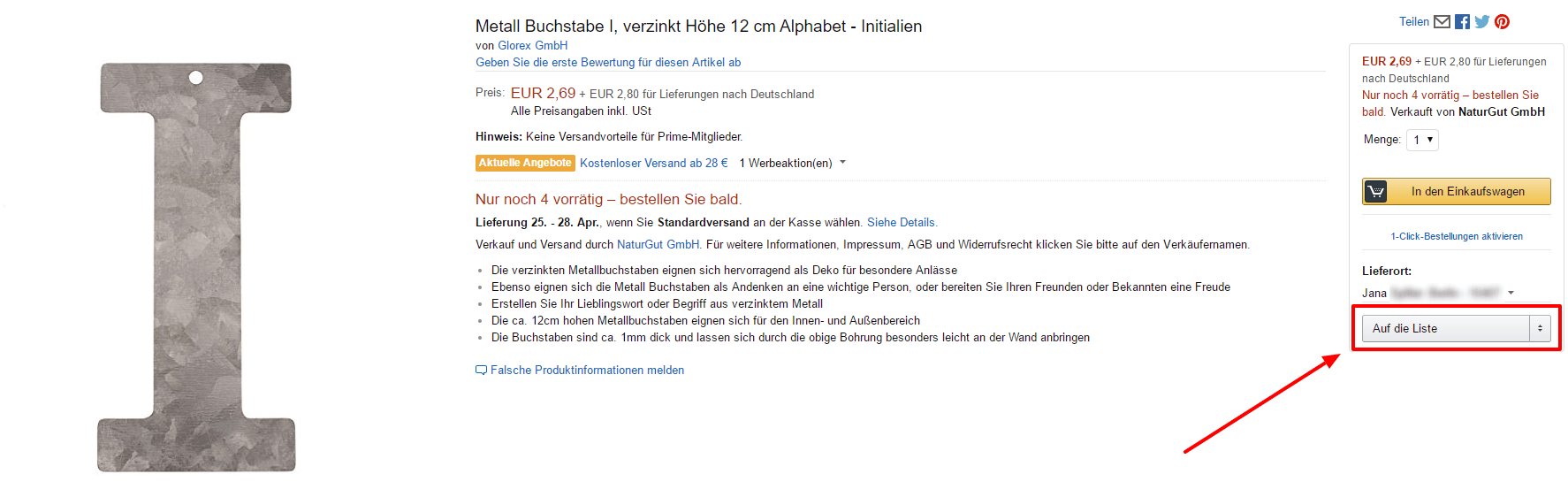 Artikel auf Liste legen Amazon