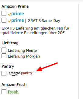 Amazon Pantry Filter aktivieren