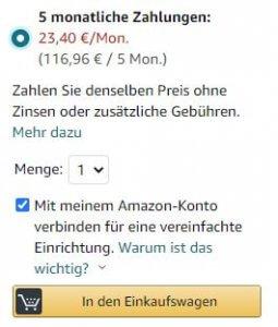 Ratenzahlung bei Amazon für Hardware möglich