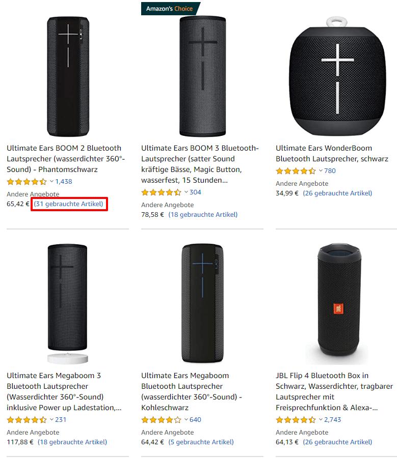 Gebrauchte Artikel bei Amazon finden