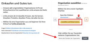 Suche nach Organisationen bei Amazon smile