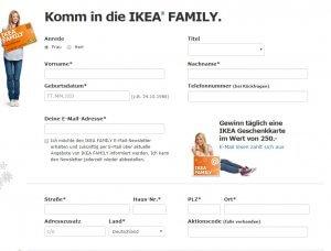 Antrag für die Anmeldung zur Ikea Family Card ausfüllen