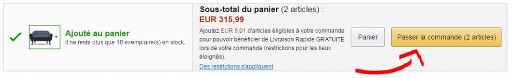"""Der """"Bestellen""""-Button auf Amazon.fr"""