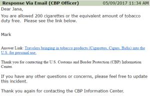 wieviel tabak mitnehmen usa