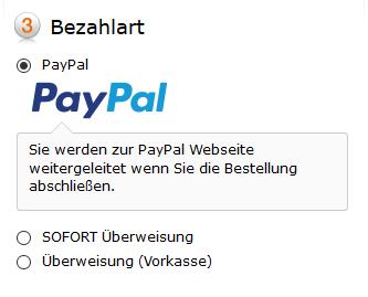 Zur Auswahl stehen bei CECT-Shop unteranderem PayPal und Überweisung