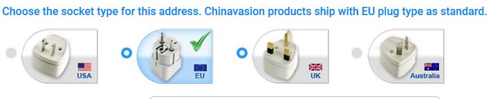 Bei Chinavasion können Sie den richtigen Stecker für  Ihr Land wählen