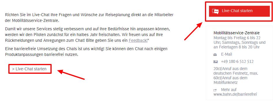Deutsche Bahn Live-Chat