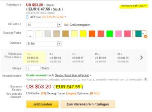 Währungsumrechnung bei DHgate / Preis auf Euro umstellen