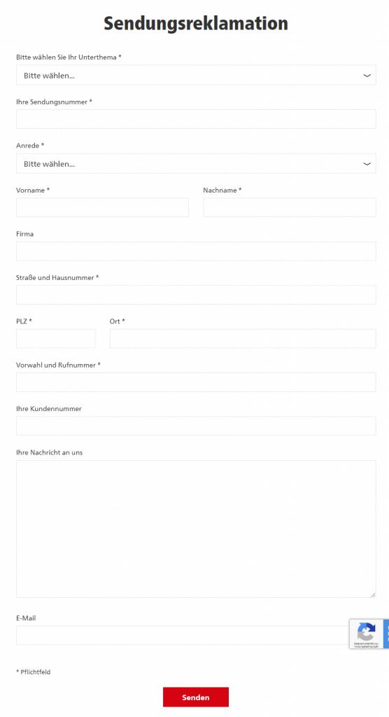 DHL Kontaktformular