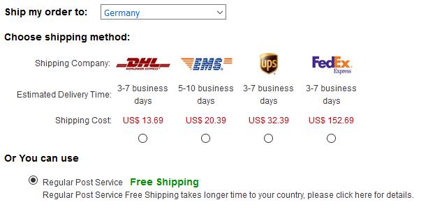 Auf DinoDirect gibt es eine kostenlose Versandmethode