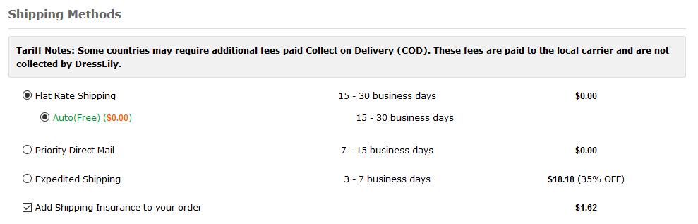 Dresslily hat keine Versandkosten außer bei Express