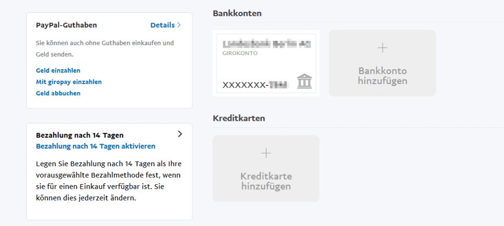 Zahlungsarten in der PayPal E-Börse.
