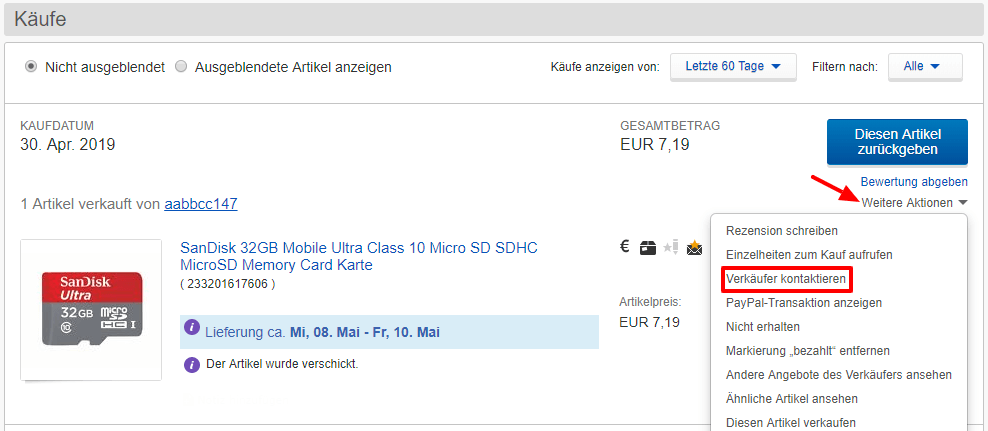 ebay verkäufer kontaktieren