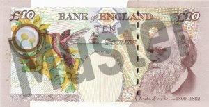 10 GBP (Britische Pfund) Banknote / Geldschein / Rückseite / Hinten