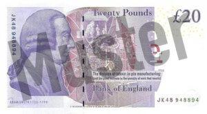20 GBP (Britische Pfund) Banknote / Geldschein / Rückseite / Hinten