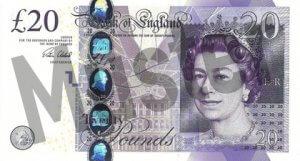 20 GBP (Britische Pfund) Banknote / Geldschein / Vorderseite / Vorne