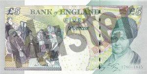 5 GBP (Britische Pfund) Banknote / Geldschein / Rückseite / Hinten