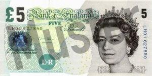 5 GBP (Britische Pfund) Banknote / Geldschein / Vorderseite / Vorne