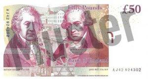 50 GBP (Britische Pfund) Banknote / Geldschein / Rückseite / Hinten