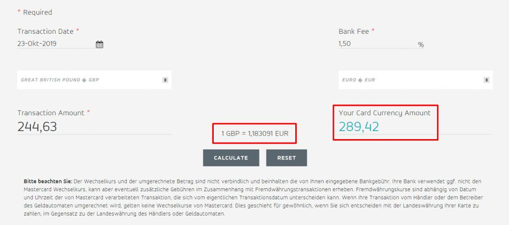 Währungsrechner von MasterCard nutzen
