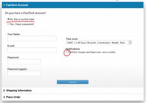 Wer keine News von Fasttech.com möchte, sollte bei der Anmeldung das Notification-Häckchen entfernen.
