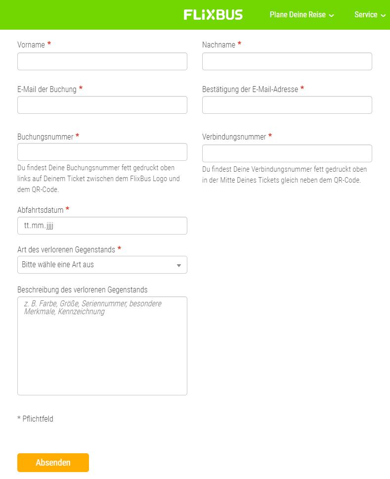 Füllen Sie das Formular vom Fundbüro aus