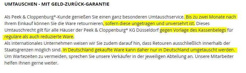 """Die """"Geld-Zurück-Garantie"""" von Peek & Cloppenburg"""