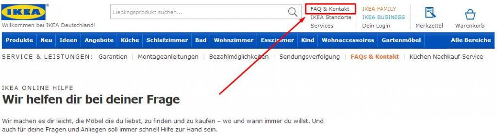 Kontakt zu Ikea per Kontaktformular