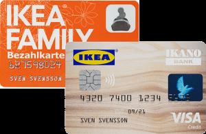 Die IKEA FAMILY Karte und Kreditkarte im Vergleich