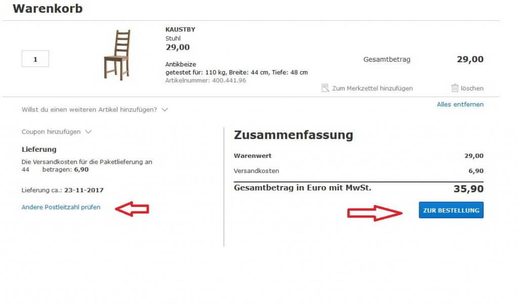 Bei IKEA die Bestellung abschließen