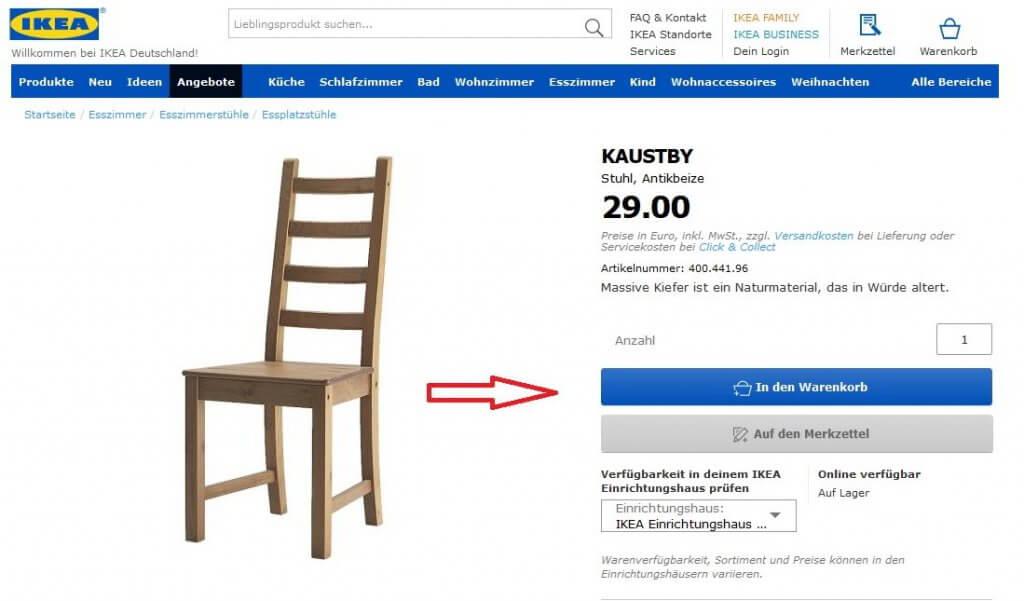 Legen die das Produkt in den Ikea Warenkorb