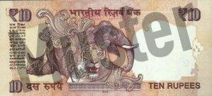 10 indische Rupien (Rückseite)