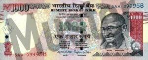 1000 indische Rupien (Vorderseite)