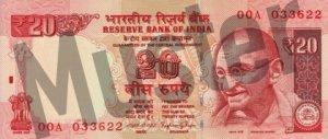 20 indische Rupien (Vorderseite)