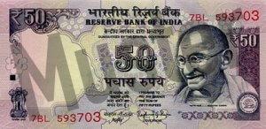50 indische Rupien (Vorderseite)