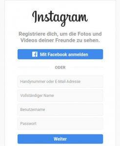 Anmelden bei Instagram