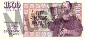 1000 Isländische Kronen (Vorderseite)