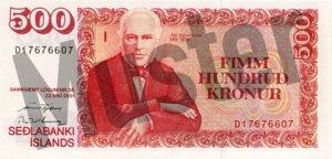 500 Isländische Kronen (Vorderseite)