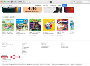"""Den iTunes Account kann man unter """"Verwalten"""" bearbeiten"""