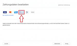 In den Zahlungsdaten bei iTunes PayPal auswählen