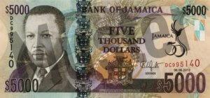 5000 Jamaika-Dollar (Vorderseite)