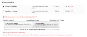 Versandarten Auswahl (Express-Versand & Standard-Versand) bei Bestellung bei JJ's House