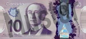 10 kanadische Dollar (Vorderseite)