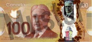100 kanadische Dollar (Vorderseite)