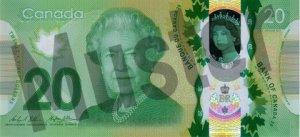 20 kanadische Dollar (Vorderseite)