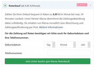 Klarna Ratenkauf bei der Bezahlung im Onlineshop auswählen
