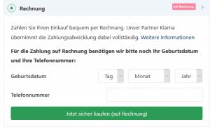 Checkout bei der Bestellung im Onlineshop via Klarna